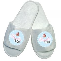 £5.99 Personalised Hen Party Cupcake Spa Slippers