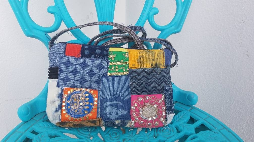 d2249ca9a2ce Vintage indian boho small denim corduroy purse - one of a kind denim jean  patches