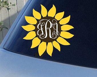Sunflower Monogram Car Window Decal Initials Car Window Decal - Monogram decal for car window
