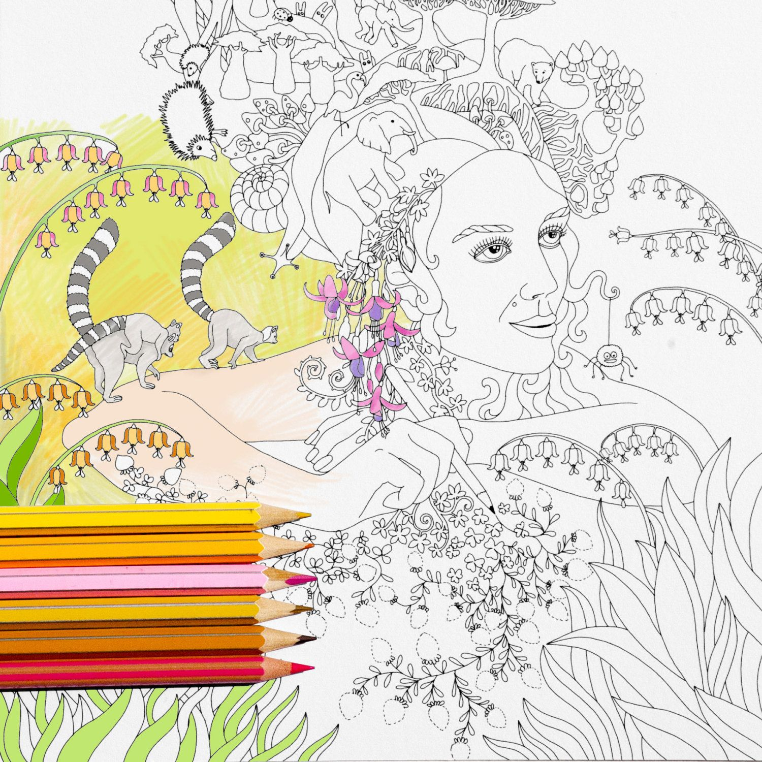 Coloring Page INSTANT DOWNLOAD Forest Princess