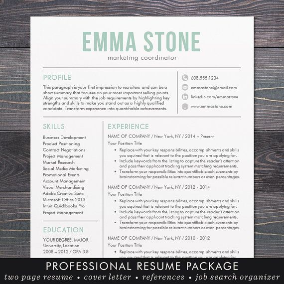 resume template  modern design  mac or pc  word  free cover letter  instant download  mint