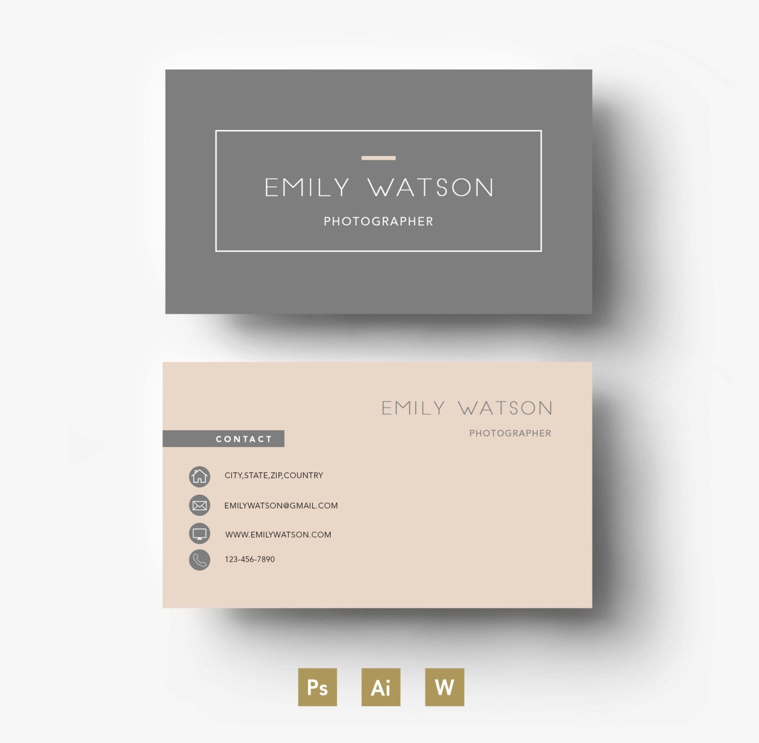 Business Card Template Easy Editable Psd Template Fonts Etsy Name Card Design Cool Business Cards Business Card Design