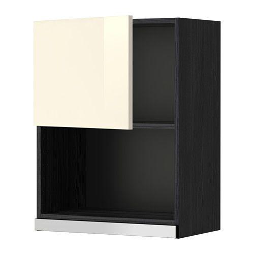 METOD Faliszekrény mikróhoz - fa hat. fekete, Ringhult mfényű krémszínű, 60x80 cm - IKEA