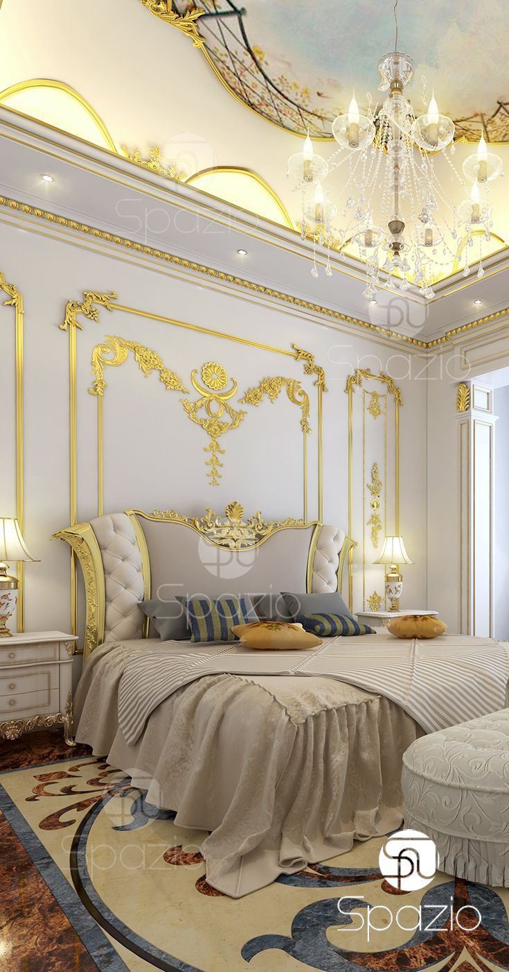 Royal luxury Master bedroom interior design for a palace house or ...