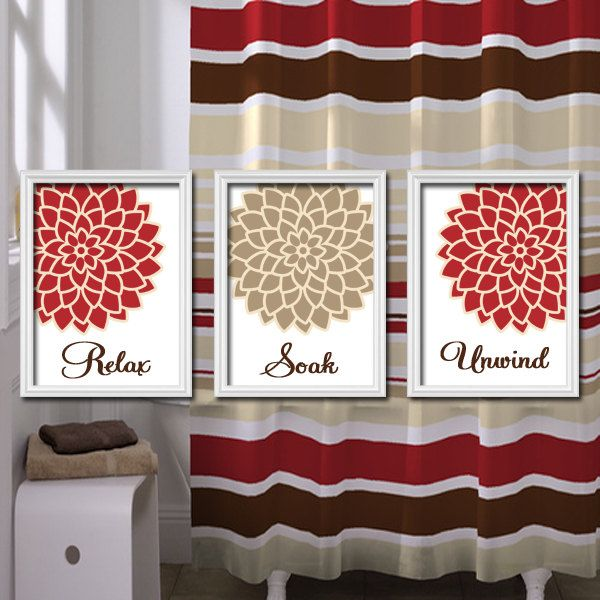 Relax Soak Unwind Red Beige Tan Brown Flourish Flower Artwork Set Of 3 Bathroom Prints Wall Decor A Floral Bathroom Brown Bathroom Decor Red Bathroom Decor