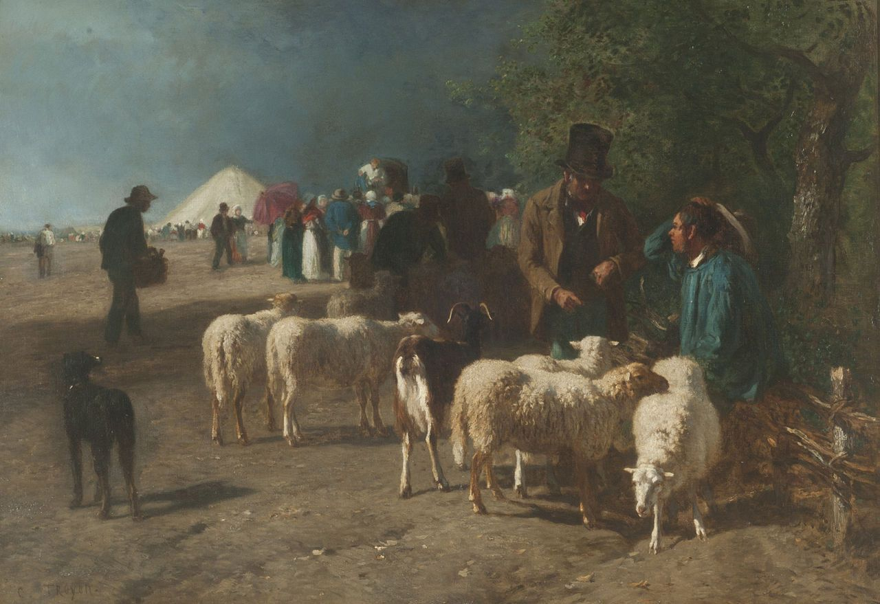 """Constant Troyon:  """"A sheep Market in Normandy"""""""