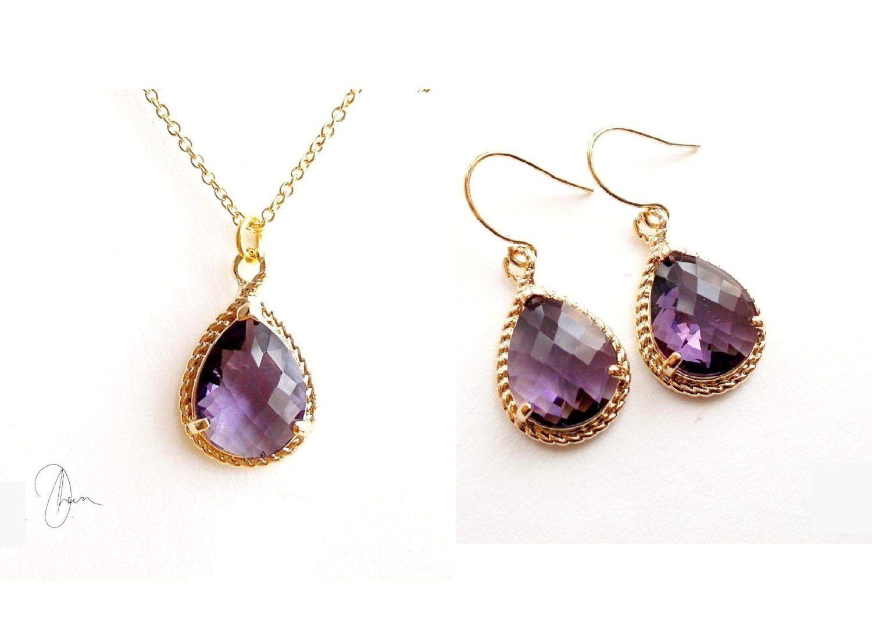 Dark purple crystal gold jewellery set dangle earrings u dainty