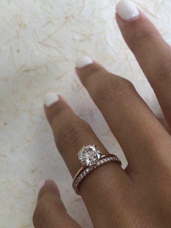Diamond Engagement Ring Round Brilliant Diamond Bridal Set 1 80 Carat Solitaire Diamond Ring Solitaire Ring Wedding Band Diamond Ring Round Diamond Engagement Rings Engagement Ring White Gold Classic Engagement Rings