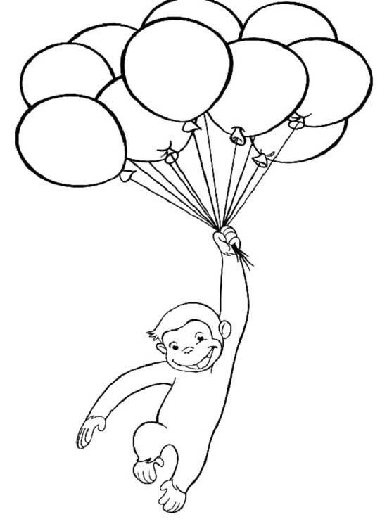 Curious George With Balloons Coloring Page Gambar