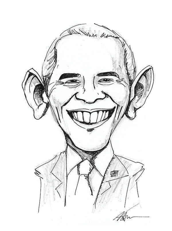 caricature dessin noir et blanc portrait barack obama art id es dessins pinterest. Black Bedroom Furniture Sets. Home Design Ideas
