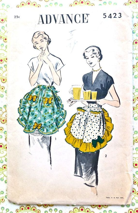 Vintage 1950s Womens Apron Pattern - Advance 5423 | Figurin