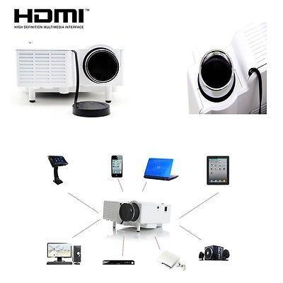 White UC28 PRO HDMI Portable Mini LED Projector Home Cinema Theater AV VGA USB