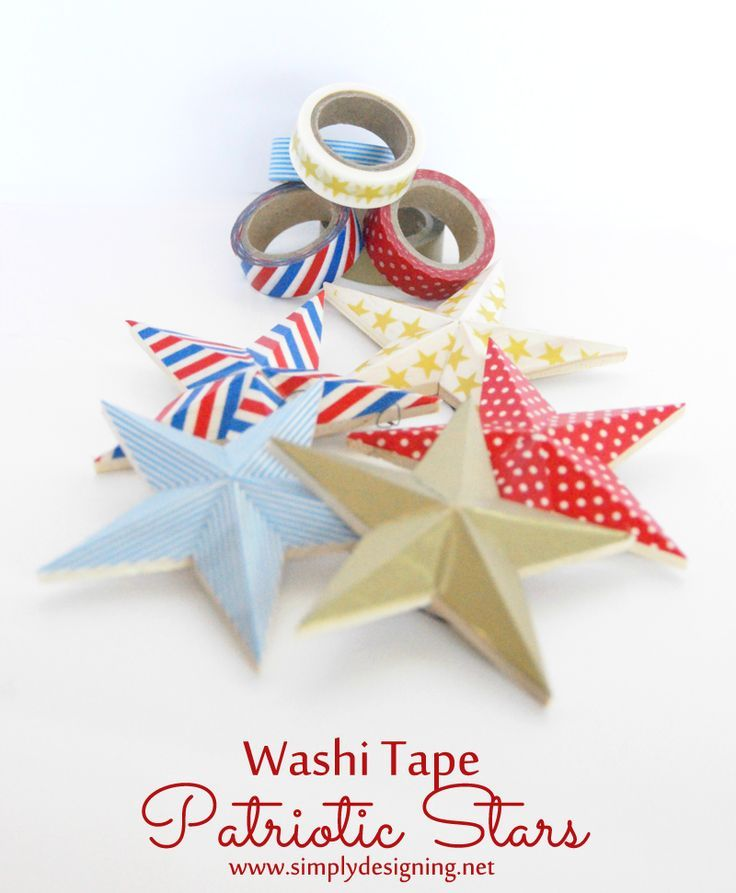 Washi Tape Patriotic Stars ~ such a simple 4th of July craft ~ pinning for…