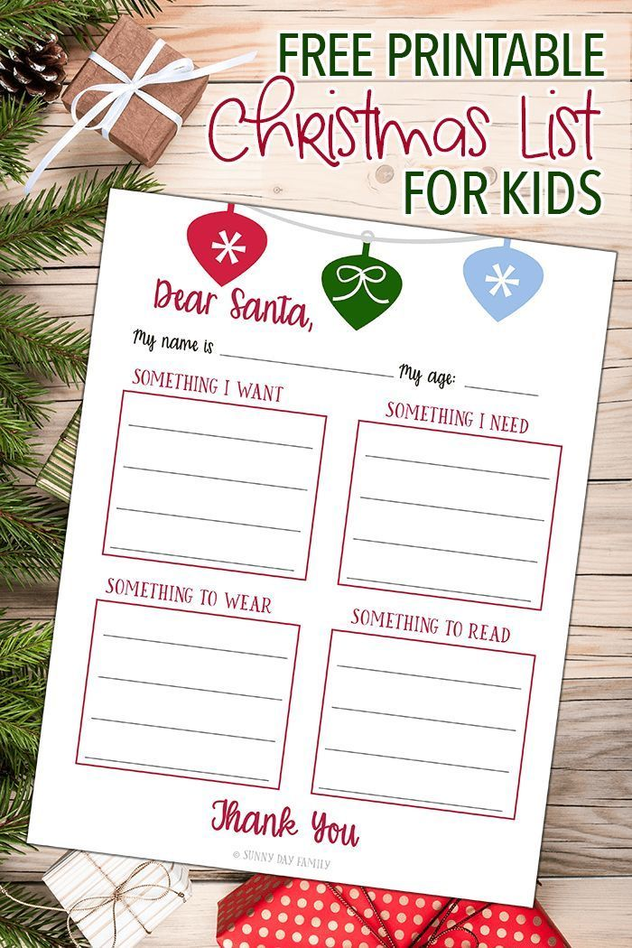 Want, Need, Wear, Read Christmas List Free printable, Frugal