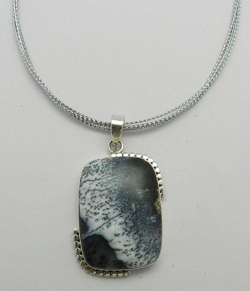 Gorgeous Dendritic Agate Rectangle Bezel Setting 925 Silver Designer Pendant #Handmade #Chain