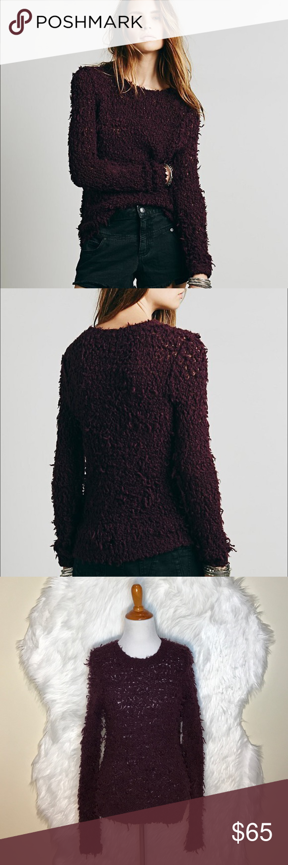 """Free People Polar Bear Shaggy Pullover Sweater L107-Super cozy From Free People Eggplant Shaggy Pullover Sweater, shaggy knit, soft wool blend. 51% acrylic, 25% wool, 24% nylon. Laid flat across @ bust: 16.5"""", Length: 26"""". NWT Free People Sweaters Crew & Scoop Necks"""