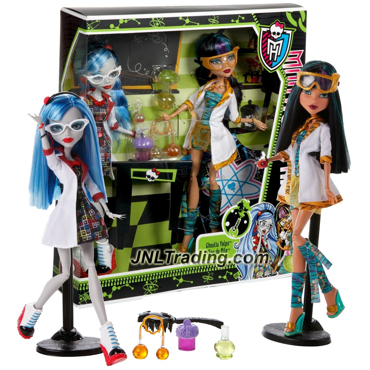 316f8686c4e9 Mattel Year 2012 Monster High Mad Science 2 Pack 11 Inch Doll - Lab  partners CLEO DE NILE and GHOULIA YELPS with Experiment Tubes and Doll  Stands