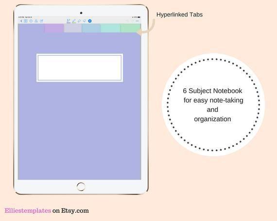 purple moonlight digital 6 tab lined student notebook template