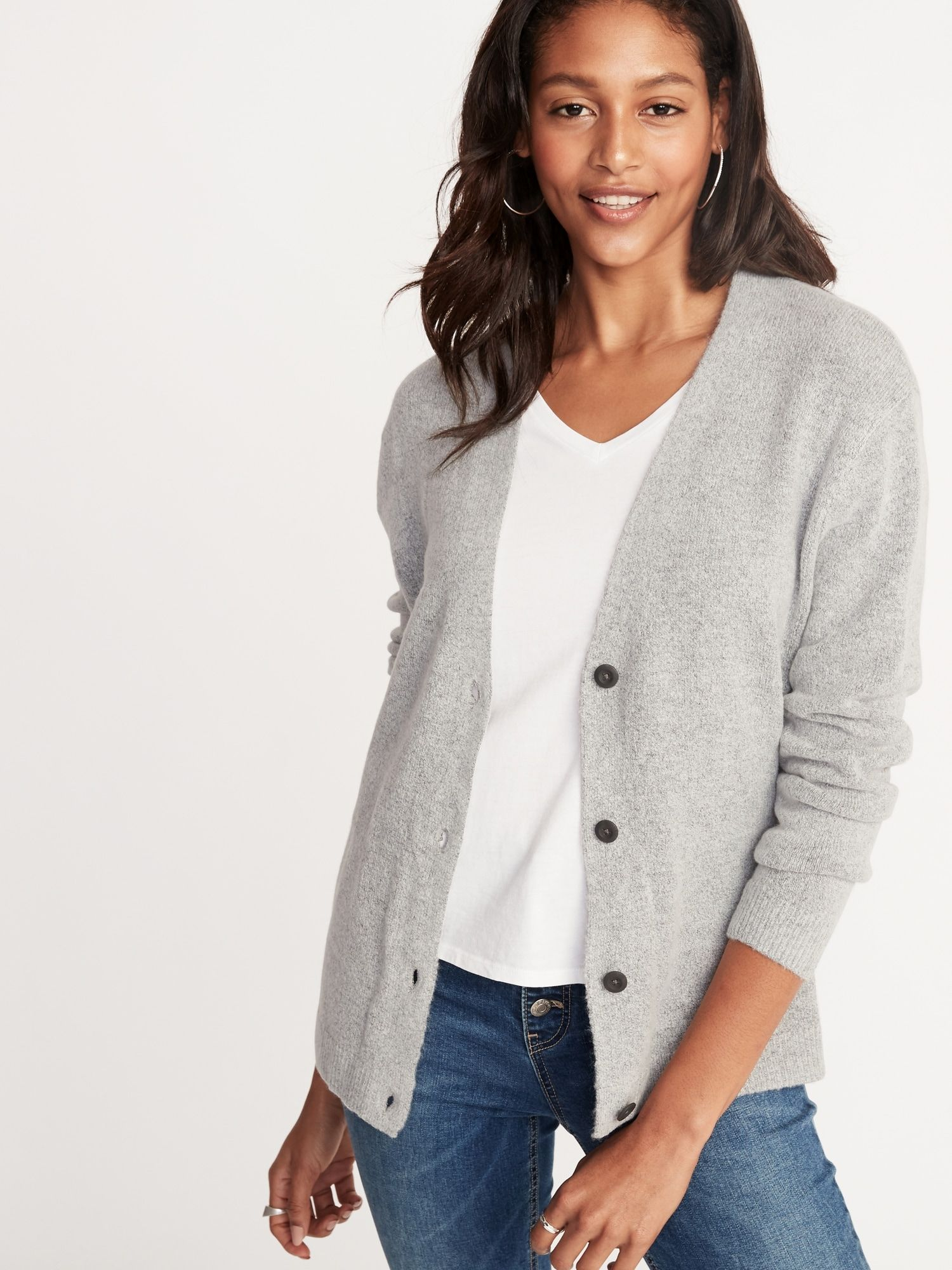 ac908a7270a3e0 Slouchy Soft-Brushed V-Neck Cardi for Women in 2019 | Business ...