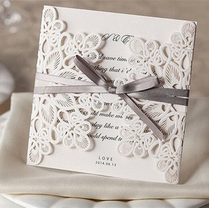 elegante weisse einladungskarten mit grauem band kpl047 [kpl047, Einladungsentwurf