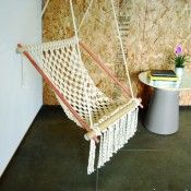 Awesome macrame hanging sling chair instructions.