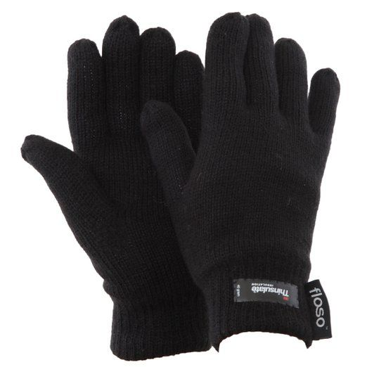 Mens 3M THERMAL THINSULATE FULL FINGER GLOVES Knitted Wooly Black UK ONE SIZE