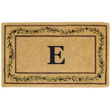 Inspired Accents Heavy Duty Coco Mat, Olive Branch Border, Monogrammed, Multicolor