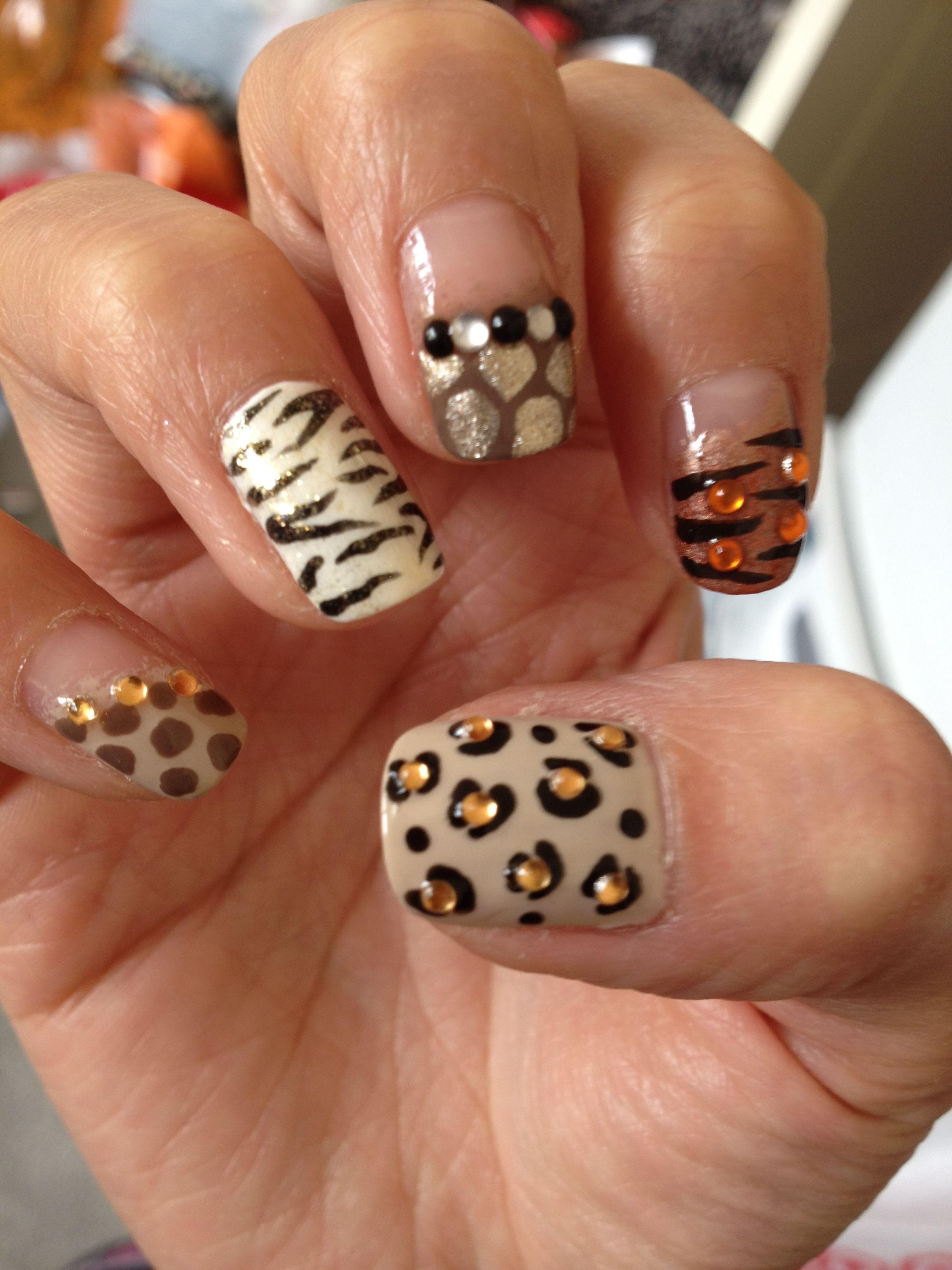 Animal Print Safari Bling nail design :)