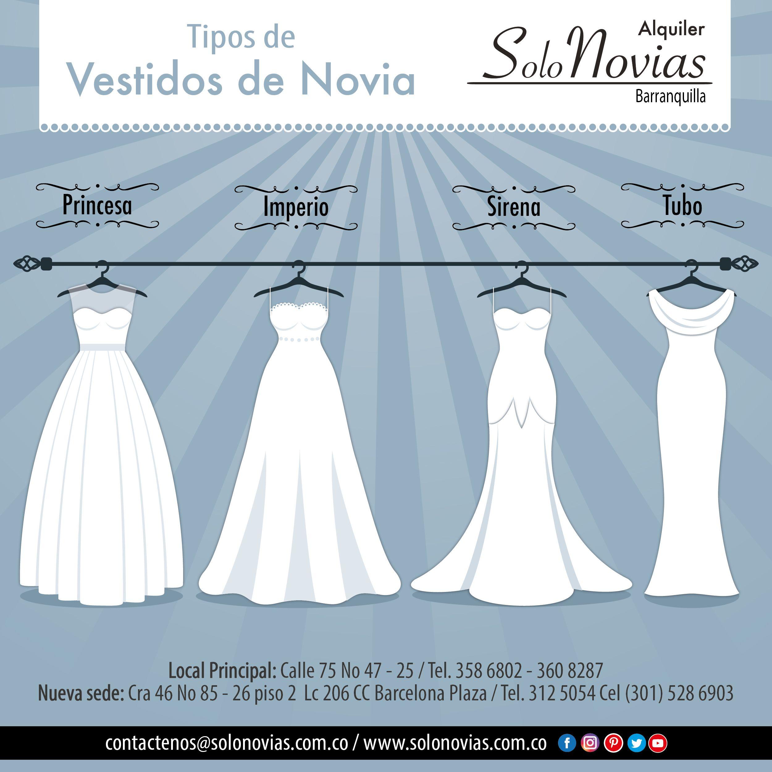 Solo Novias te enseña los tipos de vestidos de Novia. Visítanos ...