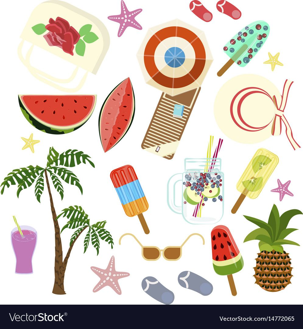 Summer icons set vector image on VectorStock Icon set