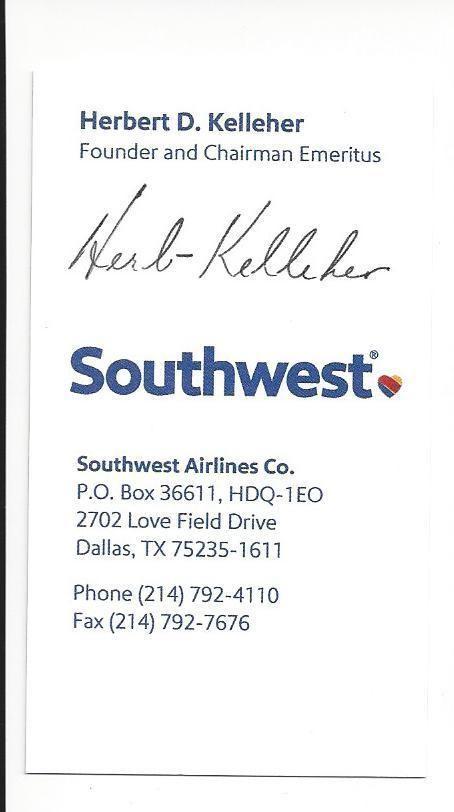 Herb kelleher signed business card southwest airlines guaranteed herb kelleher signed business card southwest airlines guaranteed authentic from 2499 colourmoves