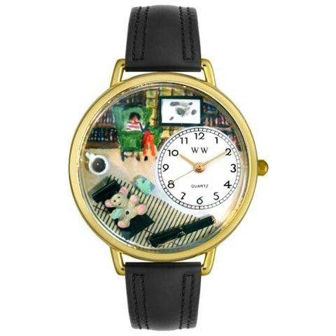 Whimsical Unisex Psychiatrist Black Skin Leather Watch