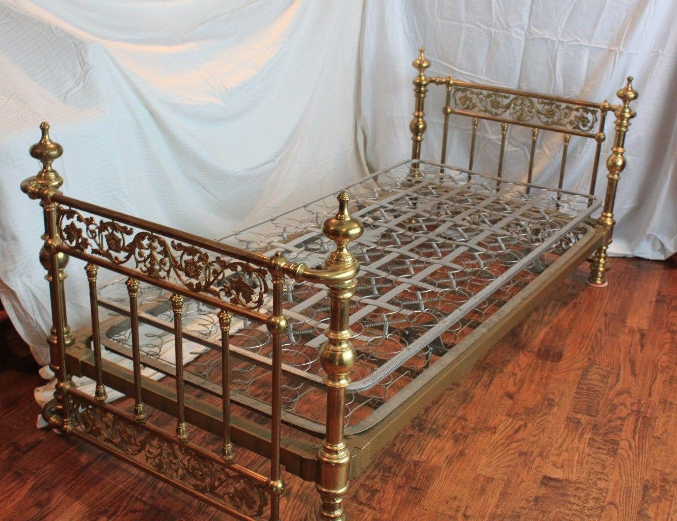Antique Brass Twin Bed With Frame And Mattress Springs Included