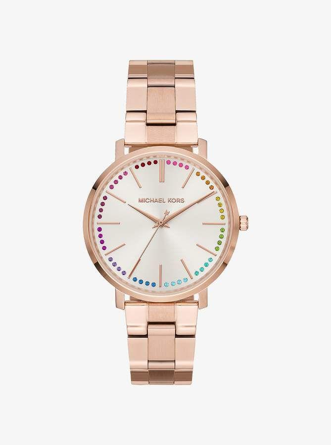 70c3bfa7bdf8 Michael Kors Jaryn Rainbow Pave Rose Gold-Tone Watch