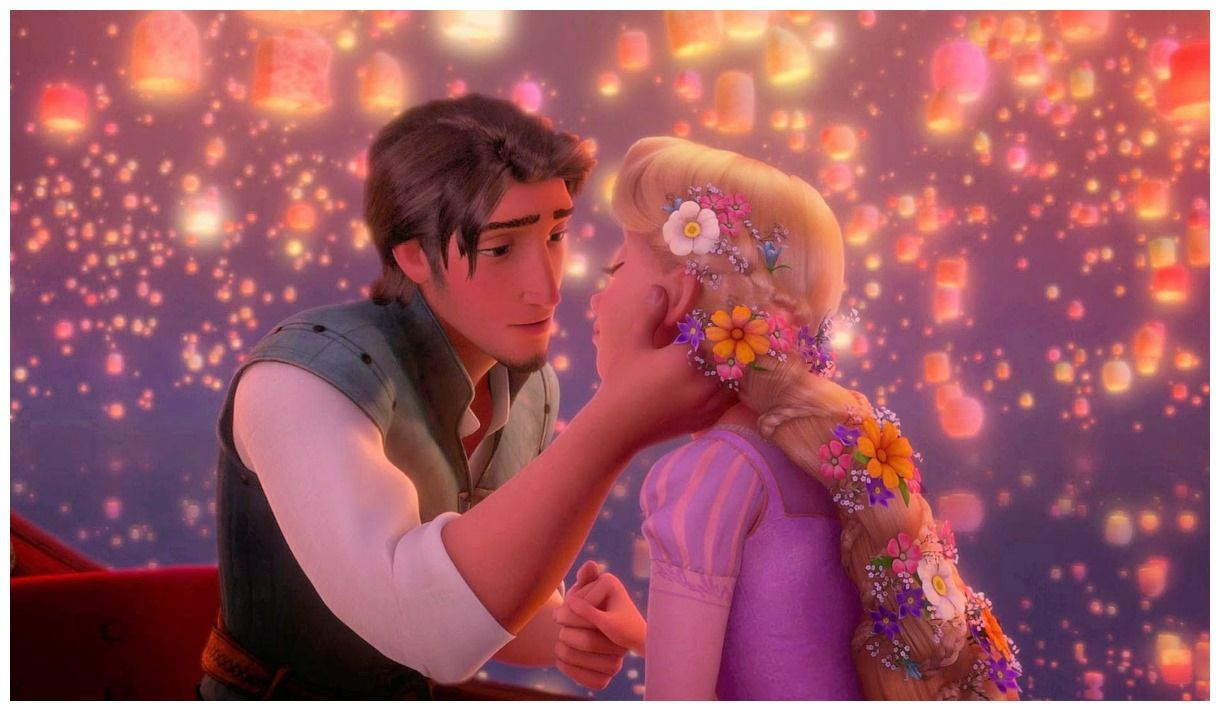 Two Lovers Cute Couple Evening Wallpaper Disney Rapunzel Rapunzel Rapunzel And Flynn