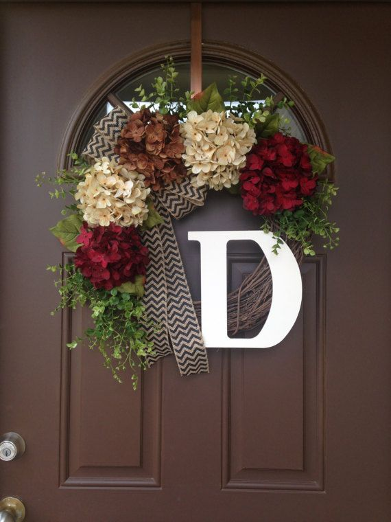 Items Similar To Hydrangea Wreath For Front Door With Monogram   Front Door  Wreath Initials   Grapevine Wreath For Door   Year Round Door Wreath   Gift  On ...