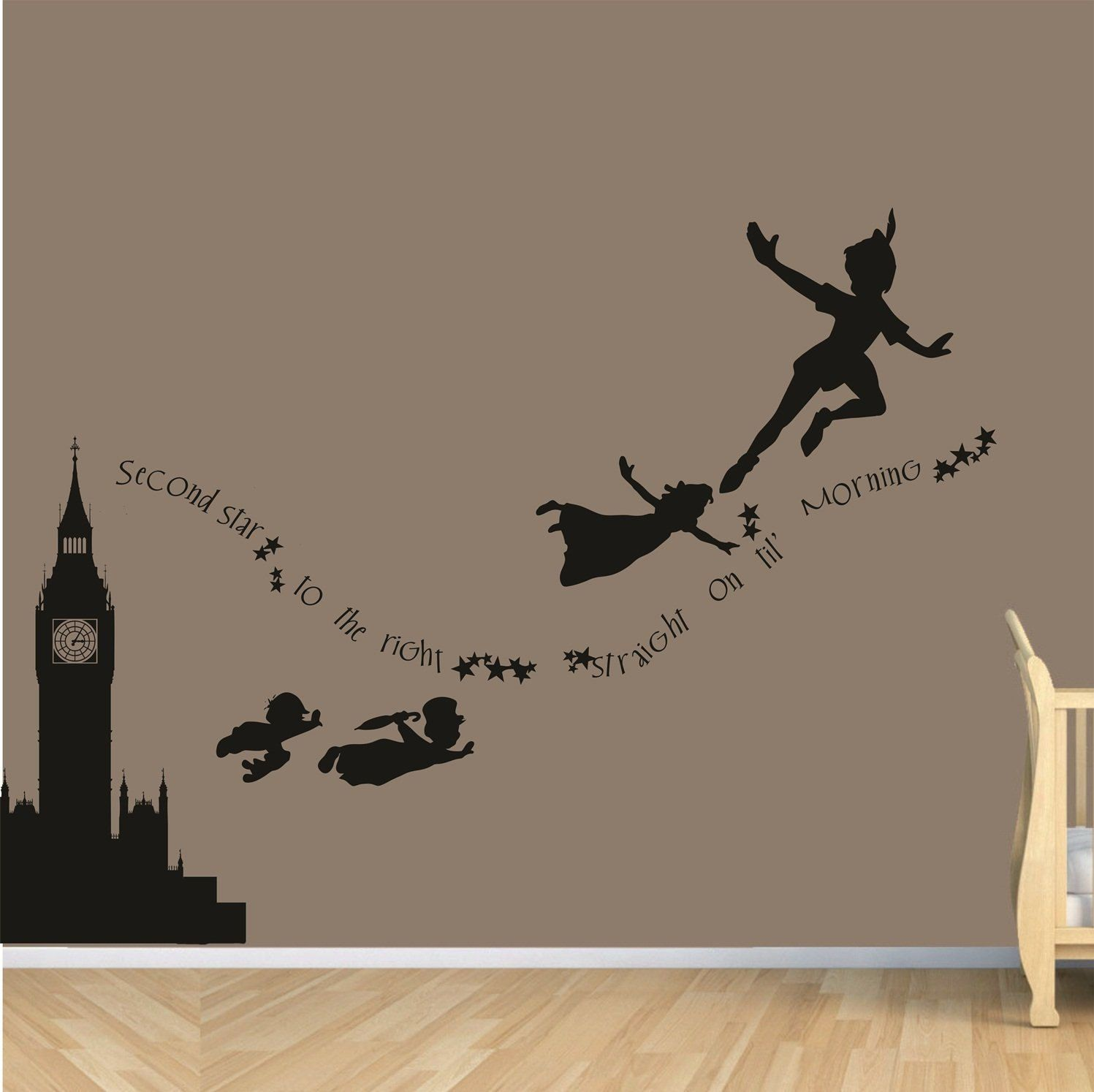 Clock tower peter pan never never land flying by parklanecouture clock tower peter pan never never land flying childrens nursery vinyl decor wall mural decal silhouette disney inspired amipublicfo Gallery