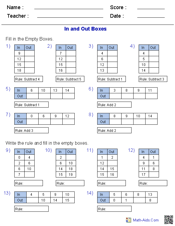 MathAidsCom – Free Printable Math Worksheets with Answer Key