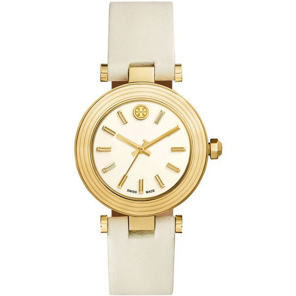 Tory Burch Watches Classic T Stainless Steel Watch ($420) ❤ liked on Polyvore featuring jewelry, watches, ivory, tory burch jewellery, stainless steel jewelry, logo watches, ivory jewelry and crown jewelry