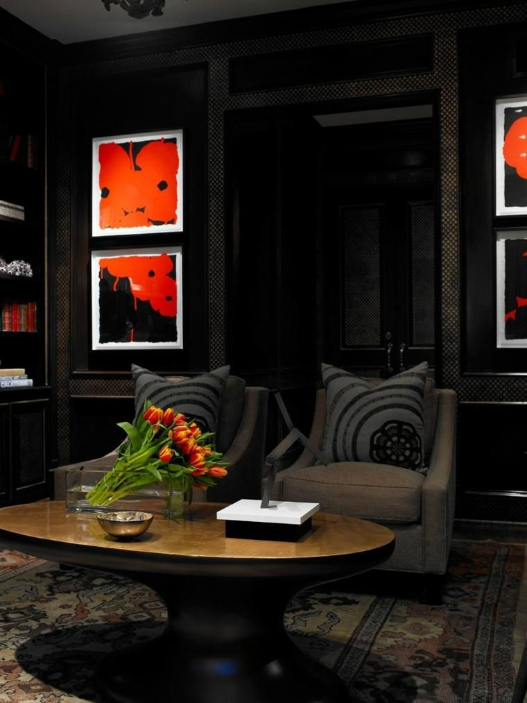 Gemalte schwarze Wände im Wohnzimmer Ideen und Ratschläge Haus - wohnzimmer deko wand