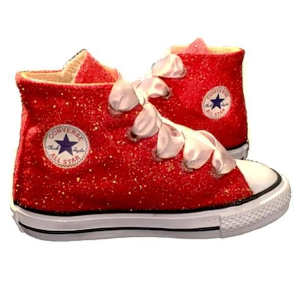 Kids Sparkly Glitter Converse All Stars High Top Sneakers Shoes red ... 97e545e34