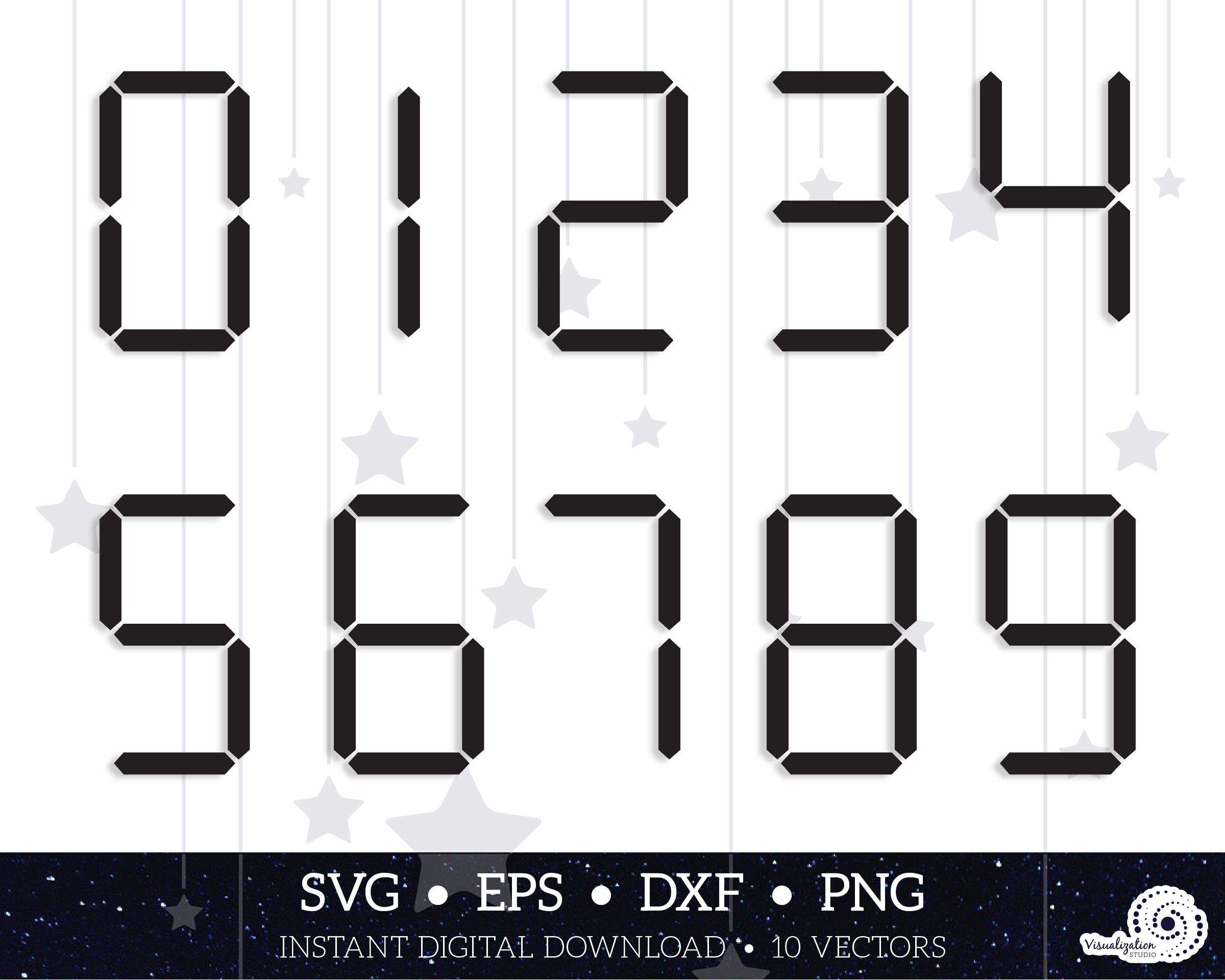Digital Analog Clock Numbers Silhouette Numbers Instant Etsy In 2020 Clock Numbers Analog Clock Digital