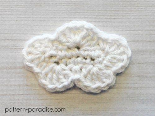 Free Crochet Pattern: Cloud Applique | Pinterest | Llaveros