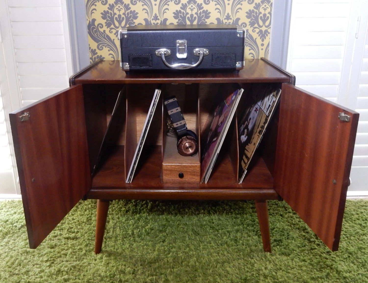1960s Record Cabinet A Lovely Vintage Retro 1960s Teak Record Cabinet Crafting Box