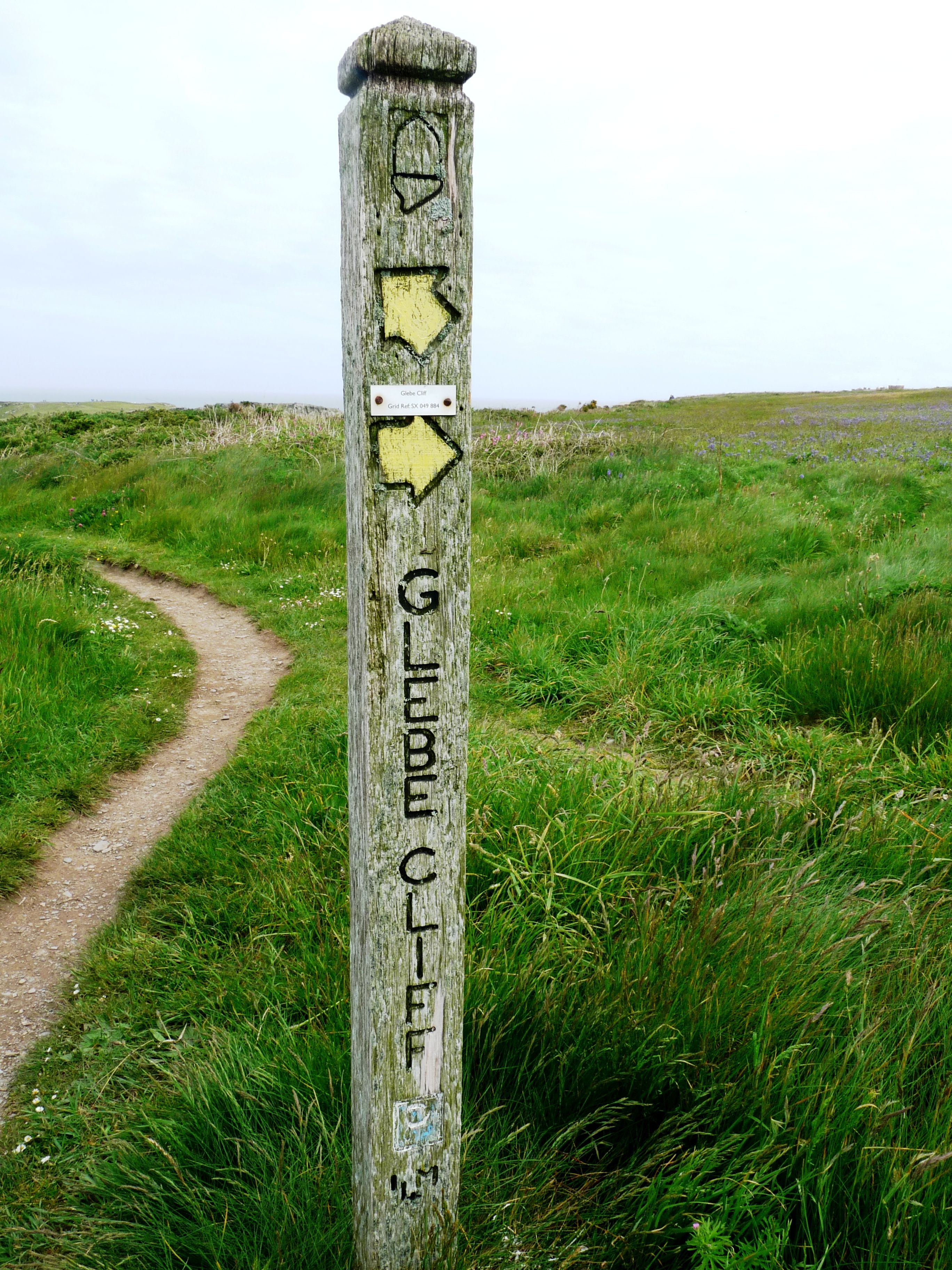 Signpost to Glebe Cliff, Cornwall, South West Coastpath......♔...