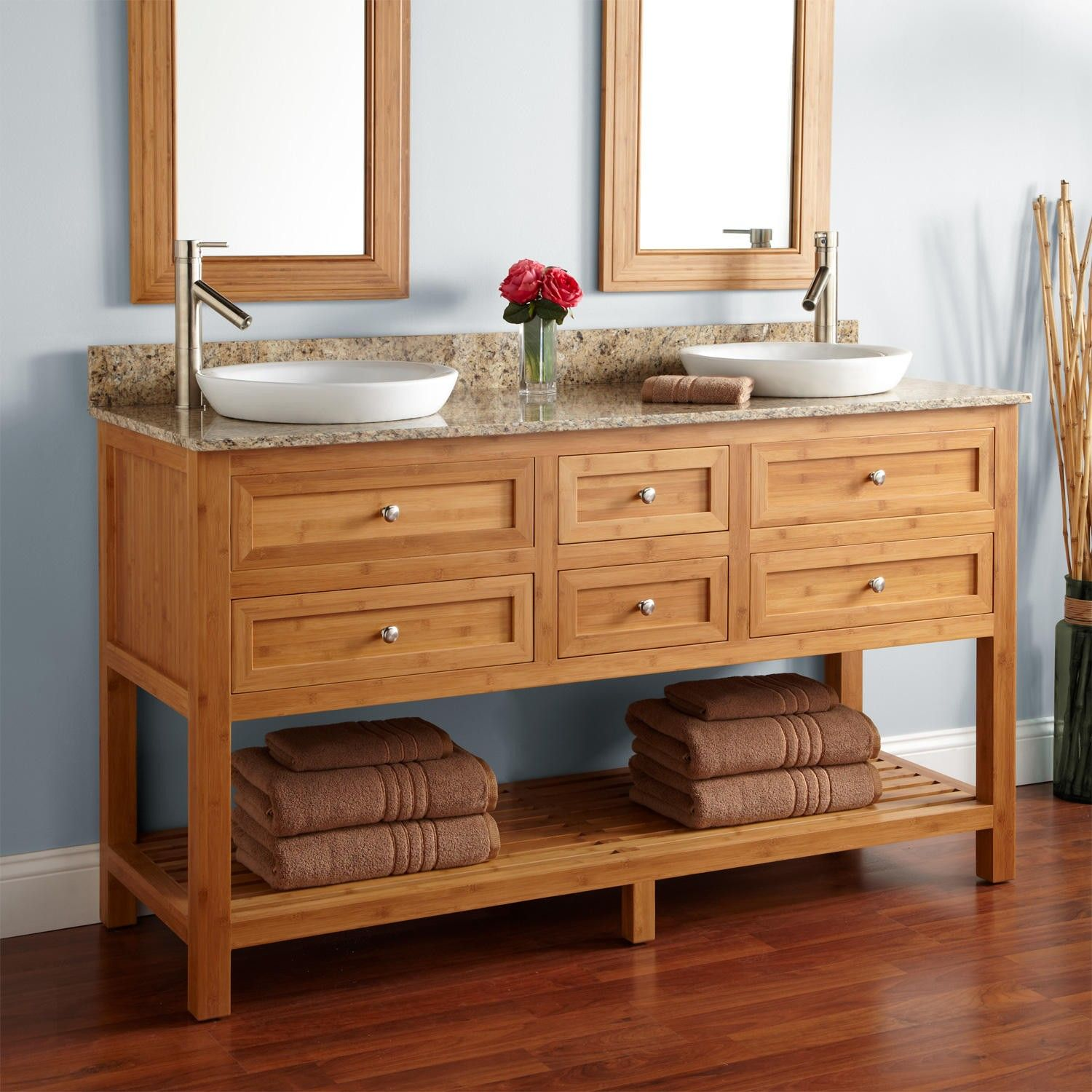 "60"" Thayer Bamboo Double Console Vanity for Semi Recessed Sinks"