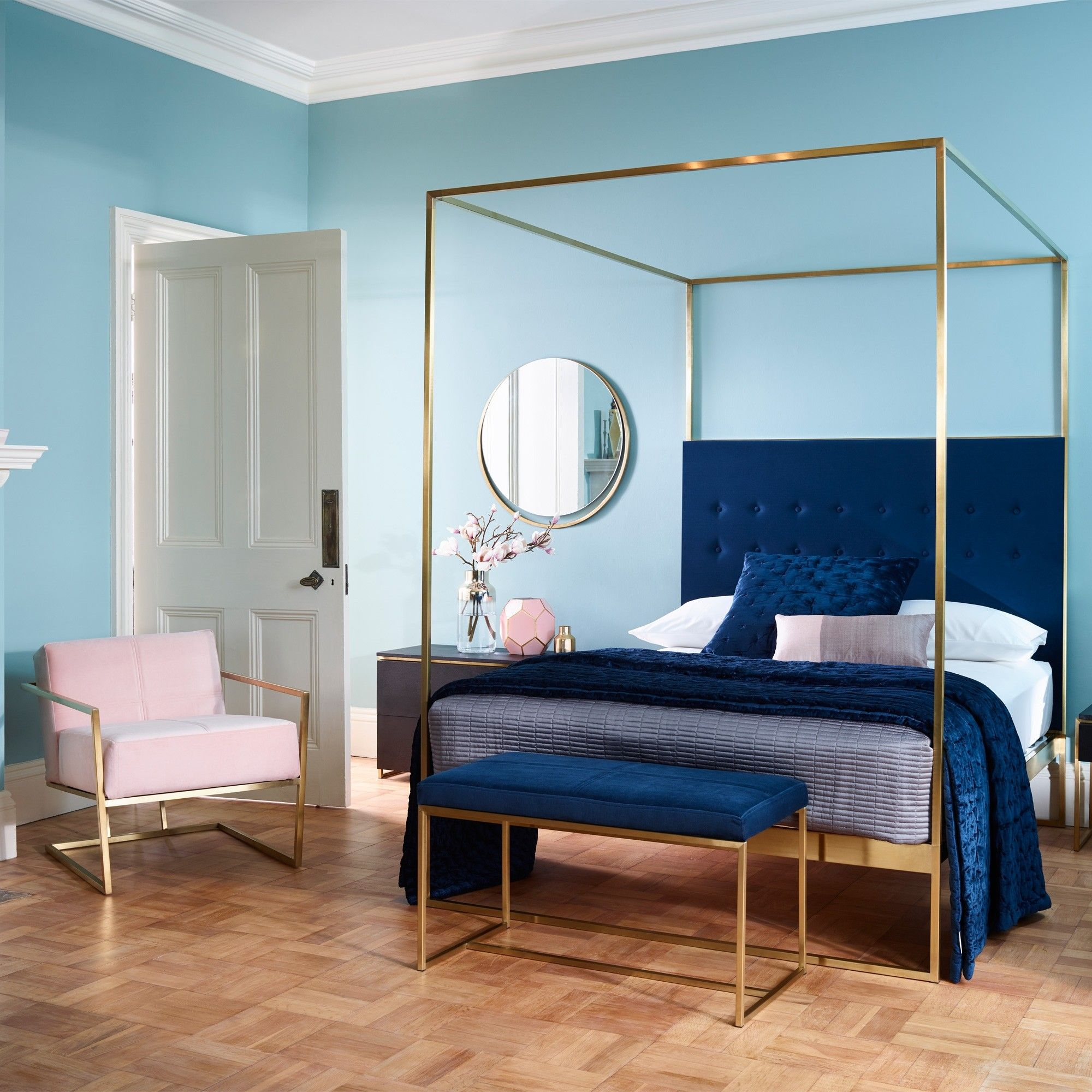 Gold Frame Canopy Bed With Blue Headboard King Canopy