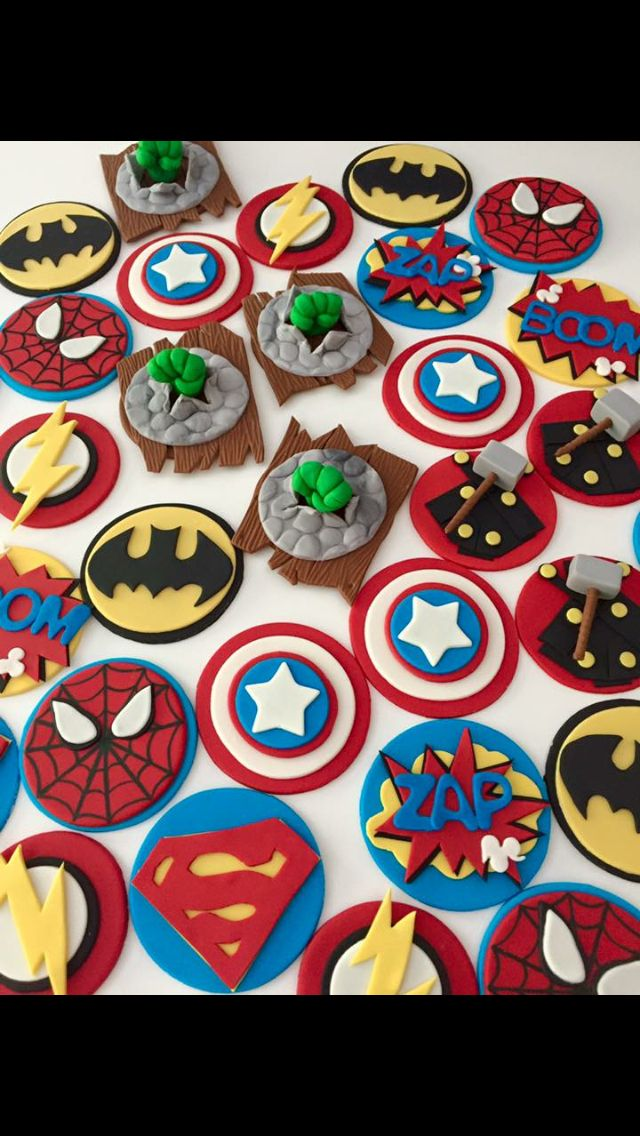 Superhero Cupcake Toppers Liams First Birthday Fondant Cupcakes