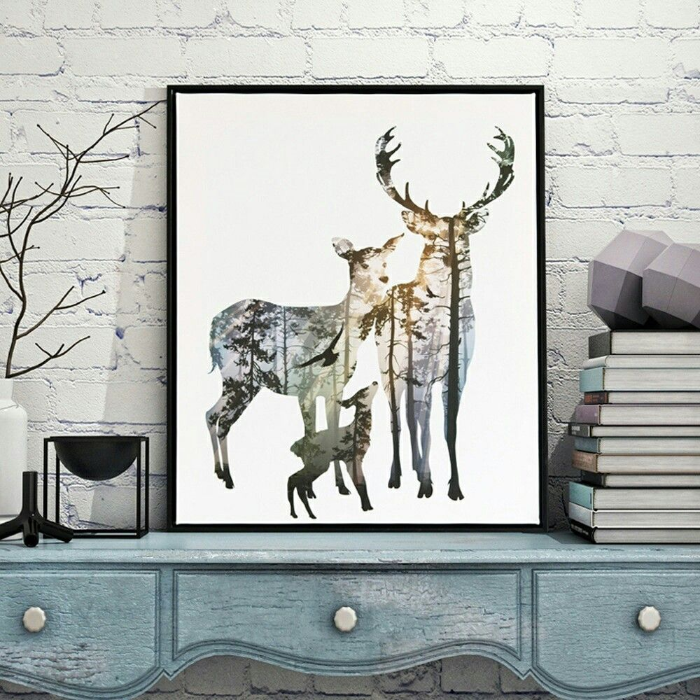 Elk Canvas Art Print Painting Poster Wall Pictures For Home Decoration Frame Not Include Wish Wall Art Canvas Painting Abstract Wall Art Painting Deer Silhouette Canvas