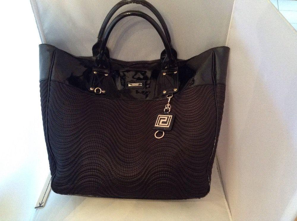 VERSACE PARFUMS WOMEN BLACK DUFFLE BAG WEEKENDER TOTE PURSE HANDBAG!   Versace… 1aa7962972